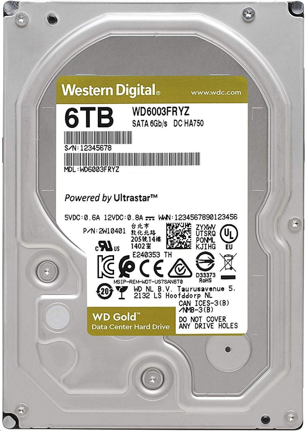 Gold - 6TB 7200rpm SATA3 256MB 3.5